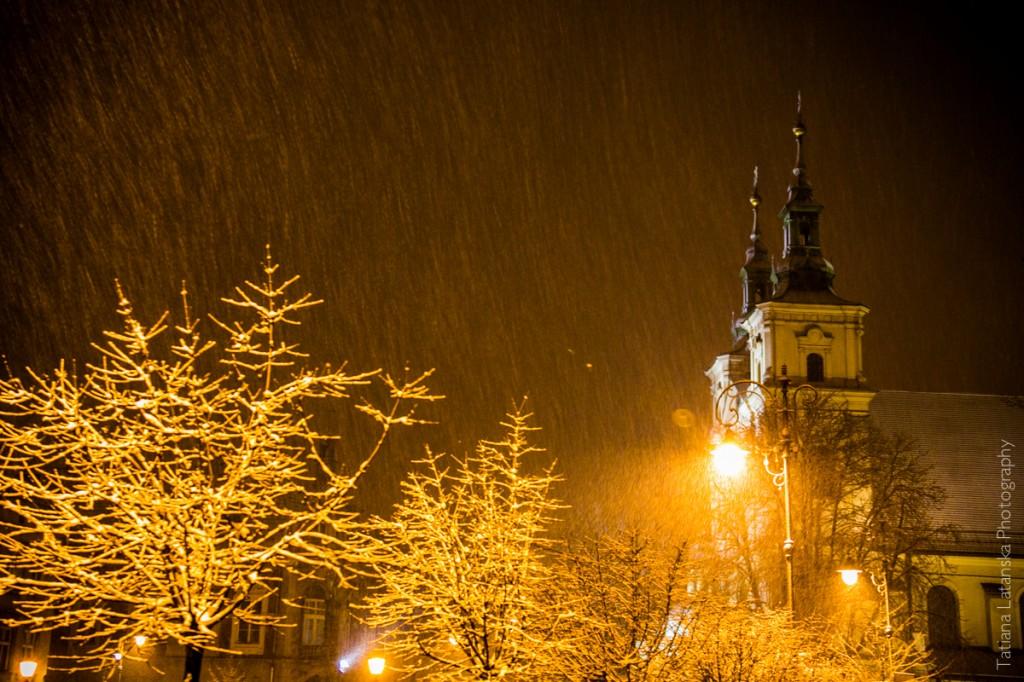 Снегопад в Кракове
